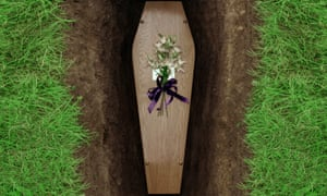 Coffin in open grave