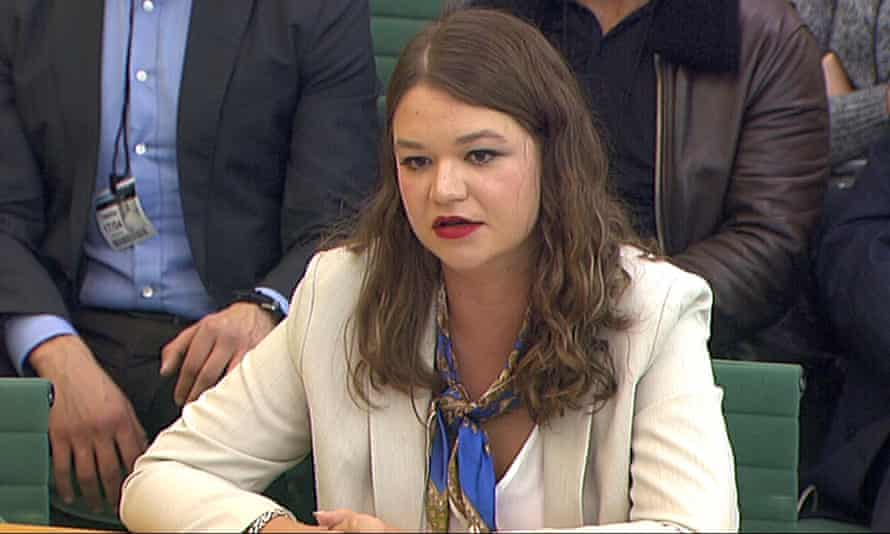 Brittany Kaiser appears before the DCMS committee in Westminster on Tuesday