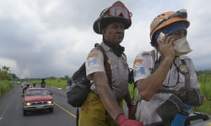 Rescuers continue with the search for more survivors in the village of El Rodeo, Guatemala.