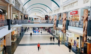Reduced footfall at Bluewater shopping centre, Kent.