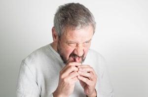 Bob Granleese eating the ruby KitKat