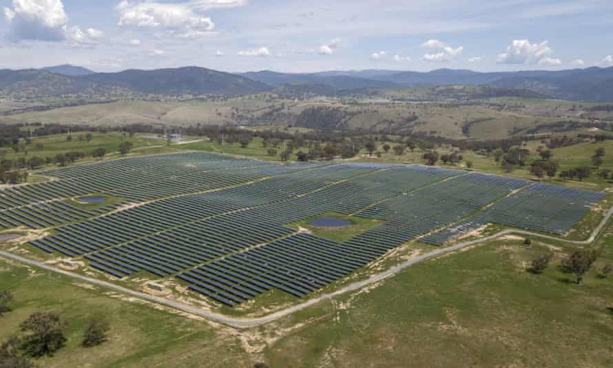 An aerial view of Williamdale Solar Farm, 35km south of Canberra