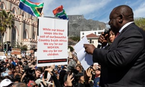 Cyril Ramaphosa addresses a crowd of protesters in Cape Town, South Africa