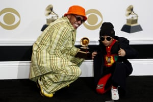 Anderson .Paak and son Soul Rasheed pose in the press room with the Grammy for Best Rap Performance