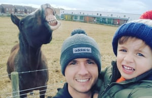 David Bellis with his son, Jacob, and Betty the horse.