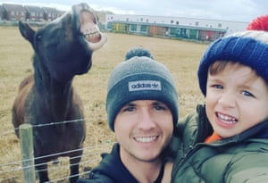David Bellis and his son, Jacob, with horse Betty, who spontaneously smiled for a selfie