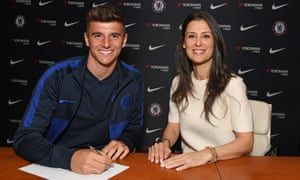Mason Mount with Marina Granovskaia as he signs his new contract with Chelsea at Stamford Bridge.