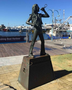 A statue of AC/DC frontman Bon Scott on the Fremantle harbour