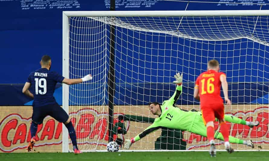 karim benzema's penalty is saved by danny ward.