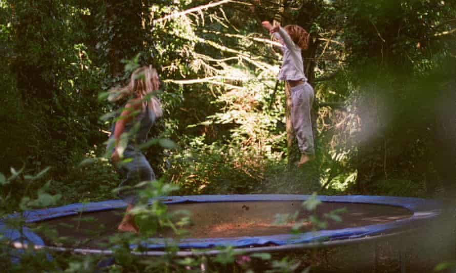 Eve and film-maker Lucy on the inner forest trampoline