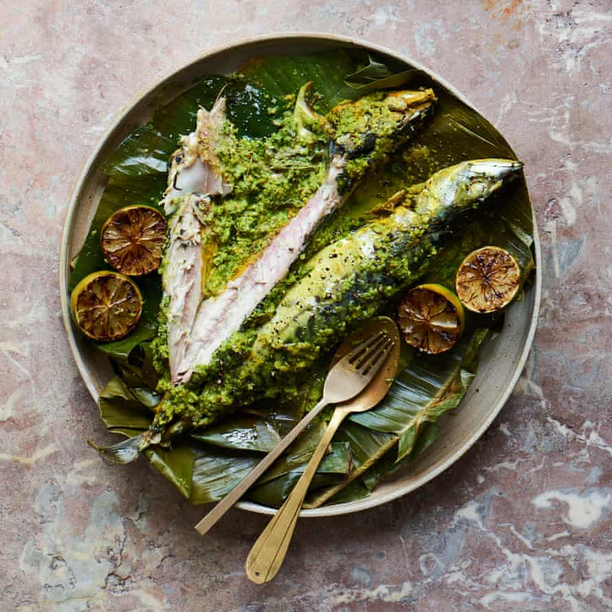 Hoppers' banana-leaf mackerel dish.