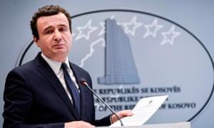 Kosovo's Prime Minister Albin Kurti gives a press conference in Pristina.