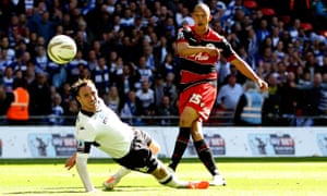Richard Keogh is powerless to stop Bobby Zamora's winning goal in the 2014 play-off final.