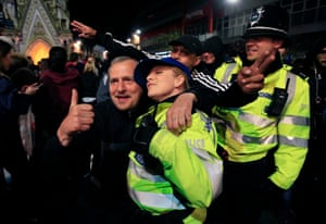 Police join in with the Leicester City fans