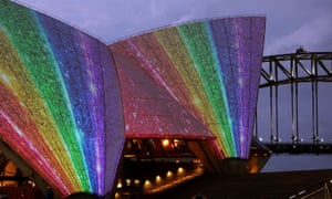 The sails of the Sydney Opera House are lit up to celebrate the passing of the same-sex marriage laws.