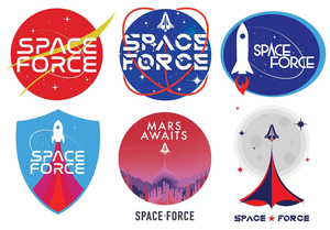 The suggested logos for the new US space force.