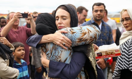 Prime Minister Jacinda Ardern hugs a mosque-goer at the Kilbirnie Mosque on March 17, 2019 in Wellington, New Zealand.