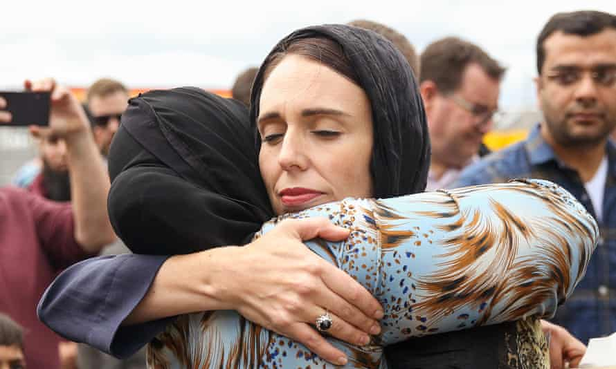 New Zealand prime minister Jacinda Ardern hugs a mourner at the Kilbirnie mosque in Wellington.