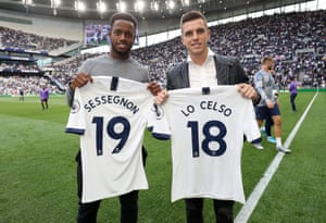 Spurs' new signings Ryan Sessegnon (left) and Giovani Lo Celso show off their shirts.