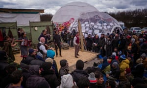 'Take arms against a sea of troubles' ... Hamlet being performed at the Good Chance theatre in Calais.