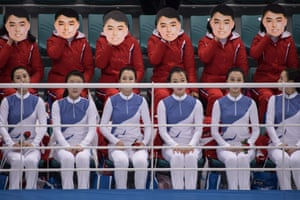 North Korean cheerleaders wear masks at the Pyeongchang Winter Olympics