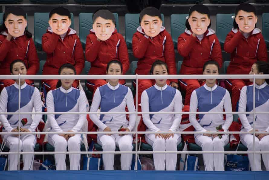 North Korean cheerleaders wear masks at the Pyeongchang Winter Olympics