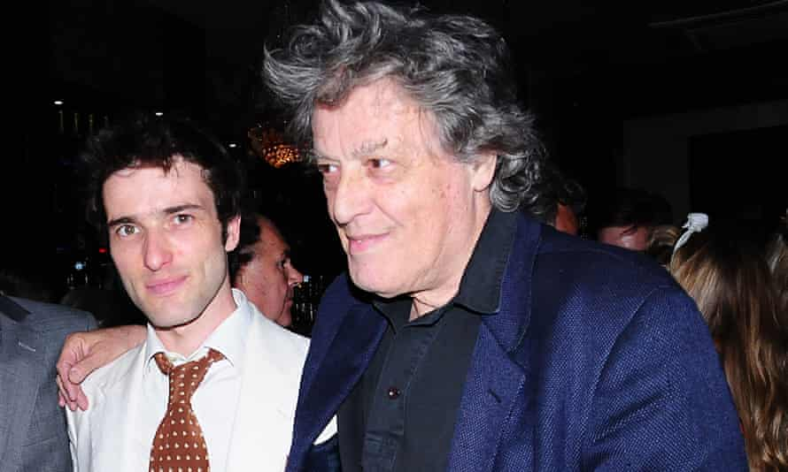'Lobbing grenades' … Ed Stoppard with his father Tom at the opening night of Arcadia in 2009.