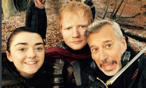 Chanced upon by Arya Stark … Ed Sheeran on set of Game of Thrones.