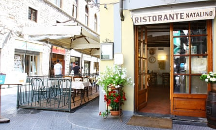 Exterior shot of the front door of the Restaurante Natalino, Florence, Italy