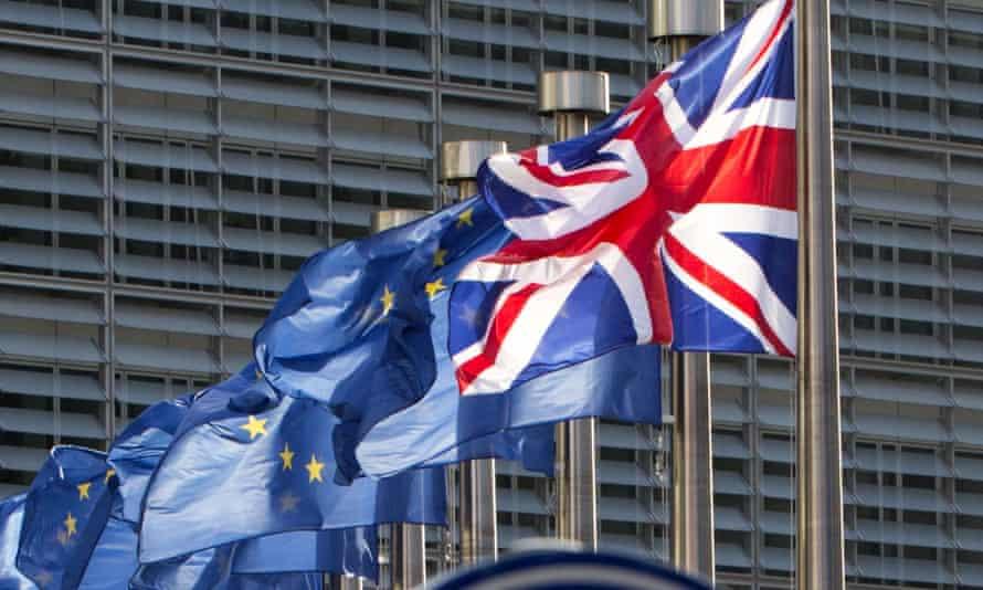 EU flags and the UK's union flag