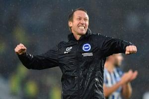 Brighton's manager Graham Potter celebrates victory over Everton.
