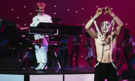 Jed Hoile dances for Howard Jones on TV's American Bandstand, 1984.