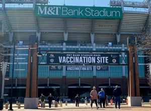 In this file photo taken on 20 March, 2021 M&T Bank Stadium in Baltimore, Maryland, is transformed in a Covid-19 mass vaccination site.