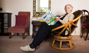 Anthea Bell in 2013 with a copy of Asterix and the Picts, the 35th book of the series that she translated.