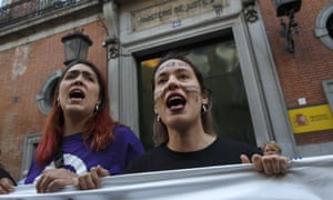 A protester shouts slogans while wearing face paint reading 'no is no' during a demonstration against the verdict of the 'wolf pack' gang case in Madrid, Spain, 26 April 2018