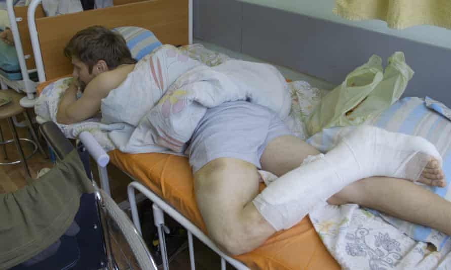 An injured protester in Minsk.