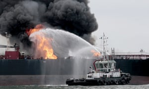 Fire on Pemex oil tanker in the Gulf of Mexico.
