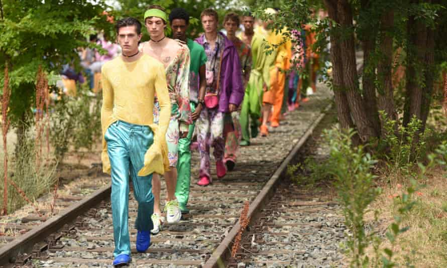 Models on the catwalk Etro show
