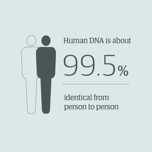 Human DNA is about 99.5% identical from person to person