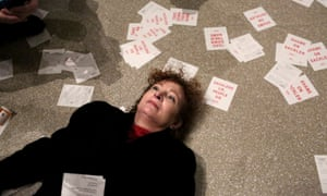 Nan Goldin protests in the Guggenheim Museum, New York, last weekend at its Sackler funding.