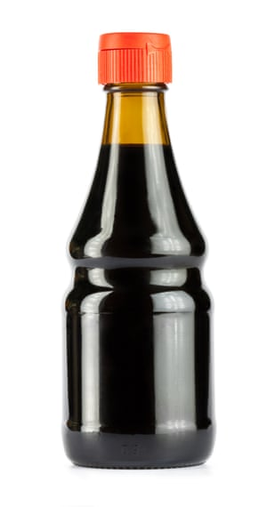 Glass bottle of soy sauce
