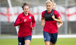 England's Jodie Taylor (left) and Steph Houghton in training ahead of Thursday's Euro 2017 semi-final against Holland