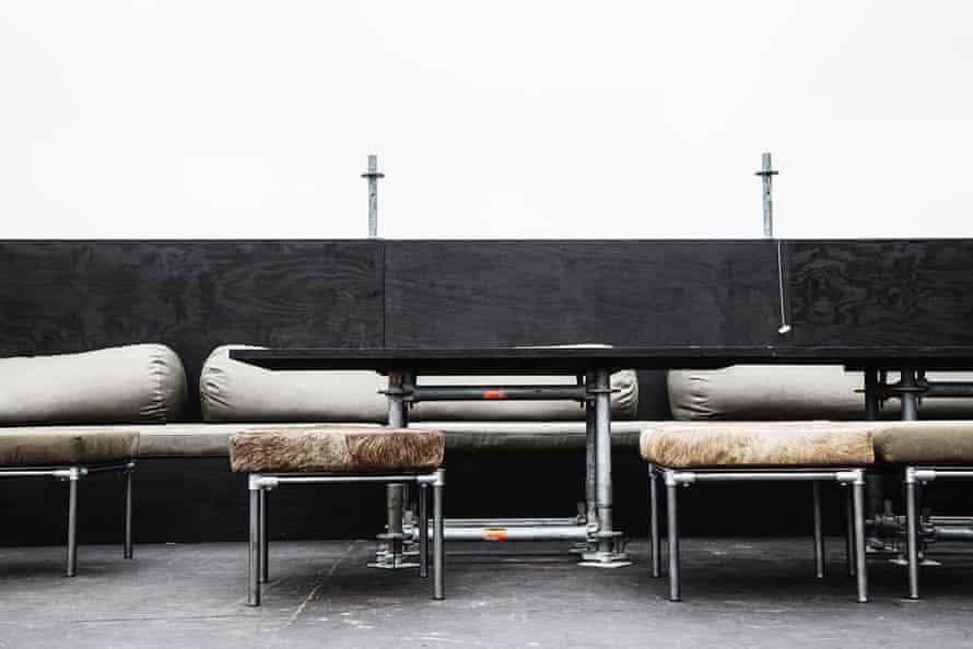 The barge's camel-skin furniture.