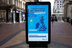 Government and NHS advert for claiming universal credit in Birmingham city centre