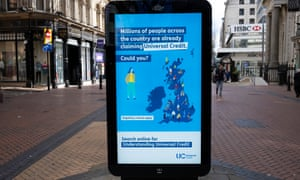 Government advertising for claiming universal credit in Birmingham city centre