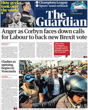 Guardian front page, Wednesday 1 May 2019