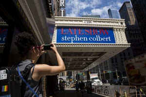 The marquee for The Late Show with Stephen Colbert at the Ed Sullivan Theater in New York.