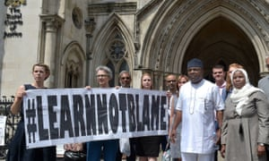 Dr Hadiza Bawa-Garba and supporters outside the high court in London in July.