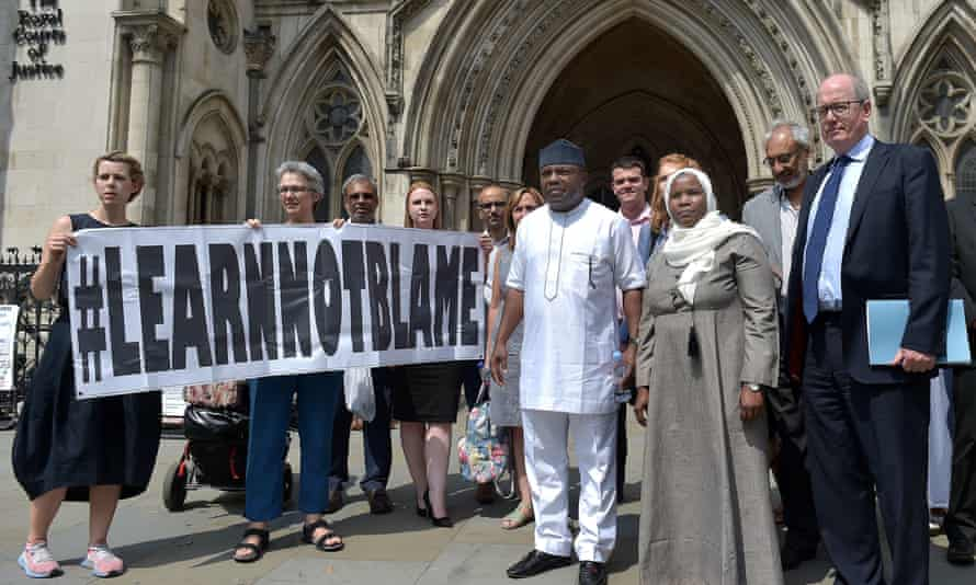 Hadiza Bawa-Garba with supporters outside the Royal Courts of Justice in London