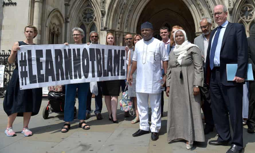 Hadiza Bawa-Garba (front right) outside the high court in London in July with supporters and her legal team